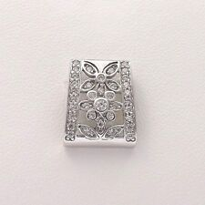 New 14k White Gold DQ Diamonique Flowers Floral Slide Pendant 2.2gr