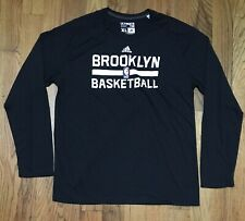 Authentic Adidas Brooklyn Nets Black Long Sleeve Ultimate Tee size Medium