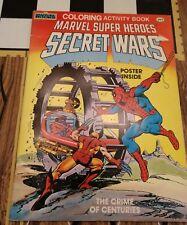 Vintage Marvel Super Heroes Secret Wars Coloring Activity Book w Poster EUC 1984