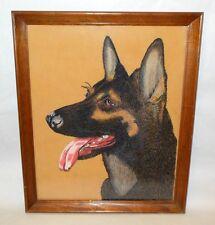 Vtg Large GERMAN SHEPHERD Dog Portrait Painting Pastel Chalk on Fabric