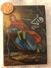 ACEO oil painting grim reaper horror fantasy funny outsider folk gothic Bible