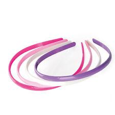 4 Plastic Aliceband Headband Hair School pink, fuchsia, lilac and white New Girl