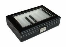 8 PIECE BLACK LEATHERETTE PEN DISPLAY CASE FOUNTAIN COLLECTOR STORAGE BOX
