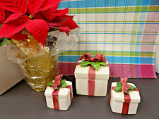 3 Fitz & Floyd Christmas Gift Boxes Lidded Porcelain Ribbons Holly Vintage