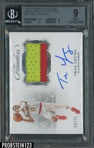2018-19 PANINI FLAWLESS PATCH AUTOS ROOKIE RC RPA HAWKS TRAE YOUNG 03/15 BGS 9