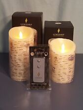 Set of 2 Luminara Painted Birch Candles with Remote Brand New!