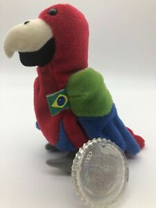 Barrot Parrot beanbag Brazil flag Coca Cola bottle 7in 5 up Coke cap tag