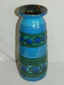 Keramik Vase Blau VEB Strehla Keramik Steingut Handgemalt DDR RAR Design 60er