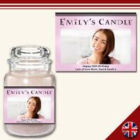 C1 Personalised Custom Photo Candle Jar Label Birthday Celebration Great Gift