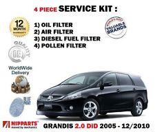 Pour mitsubishi grandis 2.0 dt a 2005-12/2010 huile air carburant pollen 4 filtres kit