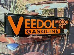 OLD VINTAGE VEEDOL MOTOR OIL & GASOLINE PORCELAIN GAS PUMP METAL SIGN FUEL