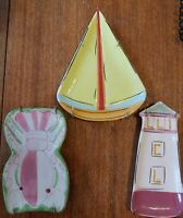 Kate Williams global design set of 3 have wall hangers, Sailboat, light house,