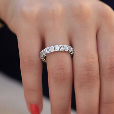5.50 Ct Emerald Cut Diamond Eternity Wedding Band Ring 10k White Gold