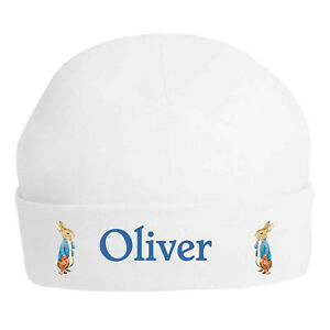 Peter Rabbit & Blanket Personalised Printed 100% Double Layered Cotton Baby Hat