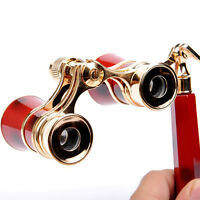 3x25 Brass Coated Lens Binocular Telescope Opera Theater Glasses W/ Handle red