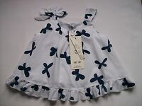 BNWT Girls White Cotton Lined Top with Butterfly Detail, Ages 3 & 6 Years only