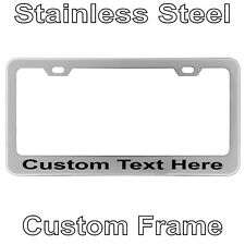 Custom Printed Chrome Stainless Steel Metal License Plate Frame With YOUR TEXT