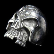 Cross Goth SKULL Rock Iron Man Silver Ring for Harley Davidson Biker King TR110