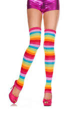 Rainbow Leg Warmers Acrylic Footless Thigh High Hosiery NEW Women's One Size NWT