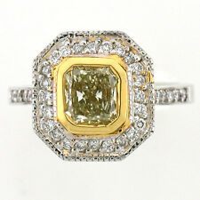 18k Fancy Yellow Diamond Ring Radiant Cut 1.83 Cts with Diamond Halo NEW