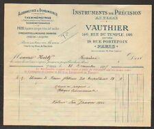 """PARIS (III°) INSTRUMENTS de PRECISION ALCOOMETRE & DENSIMETRE """"VAUTHIER"""" en 1905"""