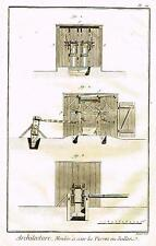 """Diderot's """"Enclyclopedie"""" -""""ARCHITECTURE - PLATE 1 (SAWMILL) Engraving -1751-72"""