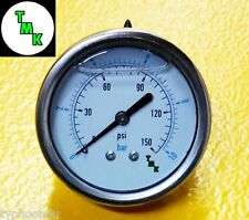"Pressure Gauge for oil fuel air 150 PSI 10 BAR 1/8 npt thread 63mm 2.5"" Dia face"