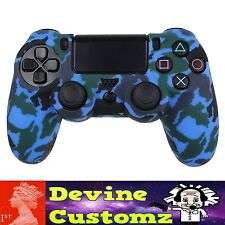 Blue Camo PS4 playstation controller rubber case cover protect Camouflage