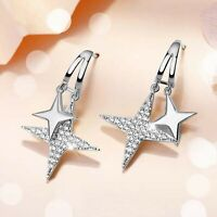 18k white gold stud made with SWAROVSKI crystal star 925 silver drop earrings