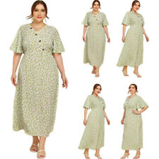 Women's Summer Fashion Floral Long Dress Short Sleeve V-Neck Casual Beach Kaftan