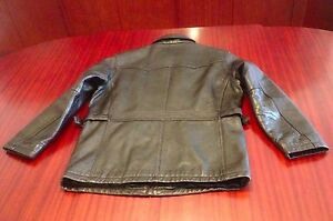 Vintage Black Leather Jacket Coat Zip Closure Side Buckles Men's S / M