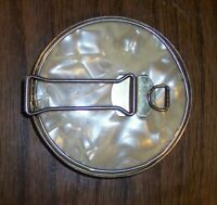 """VINTAGE """" FAUX PEARL """" STAND UP FOLD OUT 3 1/2 """" MIRROR COMPACT CASE JAPANESE"""