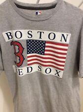 BOSTON RED SOX USA flag t-shirt MLB authentic Gray sz. Large American Baseball