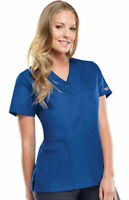 Cherokee Women's Short Sleeve Workwear Snap Front V Neck Scrub Top. 4770