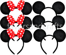 12 Minnie Mouse Ears Party Headbands Mickey RED Bows Birthday Favors Polka Dots