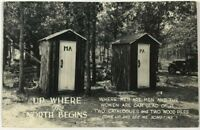 RPPC North Begins Outhouse Car Kokomo Indiana Funny Comic IN Real Photo Postcard