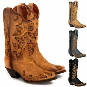 Women Mid Calf Butterfly Embroidered Western Cowgirl Cowboy Mid Calf Shoes Boots