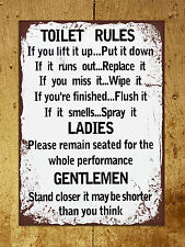 Metal Sign grunge retro style Toilet Rules funny bathroom tin wall door plaque