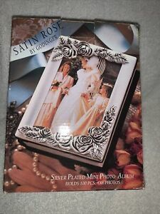1991 Vintage Silver Plated Rose Photo Album Holds 100 4x6 Photos NEW IN BOX
