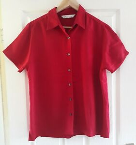 Vintage BHS Cranberry Red Needlecord Blouse Shirt Size 16 Retro Summer Button Up