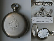 Antique CELESTIN CHARPIER Chaux De Fonds Hunter Case HC KW Pocket Watch Silver