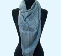 "Light Cotton Scarf. Blue & White. Stripes. India Wrap or Stole 74""x30"" Stole"