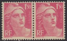 N° 712**  1Fr50 ROSE CARMINE TYPE MARIANNE DE GANDON EN PAIRE