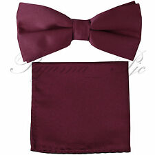 Solid Straight Cut Pre-tied Bow tie and Hanky Set Wedding Party Prom