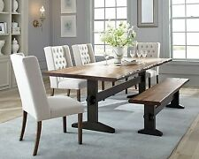 RUSTIC TRESTLE SOLID WOOD DINING TABLE TUFTED BEIGE CHAIRS BENCH FURNITURE SET