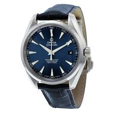 Omega Aqua Terra Blue Dial Blue Leather Mens Watch 23113422103001