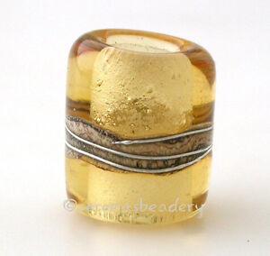 European Charm Tube LIGHT AMBER BEACH Lampwork Glass Bead - glossy matte half