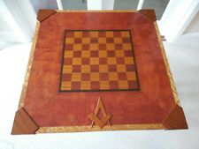 Magnificent Handcrafted, Freemasons, Large, Lacquered Veneer, Wooden Chess Board