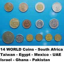 14 Coins - Pakistan - Taiwan - Mexico - Egypt Israel - Uae - Ghana South Africa