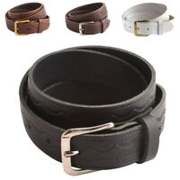 Mens Ladies Patterned Full Genuine Leather Belt UK Made Thin Skinny Black Brown